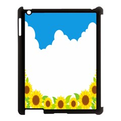 Cloud Blue Sky Sunflower Yellow Green White Apple Ipad 3/4 Case (black) by Mariart