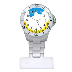 Cloud Blue Sky Sunflower Yellow Green White Plastic Nurses Watch by Mariart