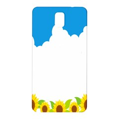 Cloud Blue Sky Sunflower Yellow Green White Samsung Galaxy Note 3 N9005 Hardshell Back Case by Mariart