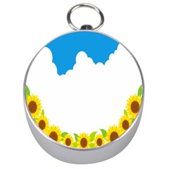 Cloud Blue Sky Sunflower Yellow Green White Silver Compasses by Mariart
