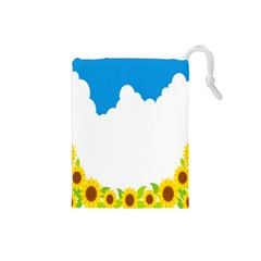 Cloud Blue Sky Sunflower Yellow Green White Drawstring Pouches (small)  by Mariart