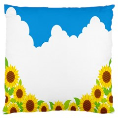 Cloud Blue Sky Sunflower Yellow Green White Large Flano Cushion Case (one Side) by Mariart