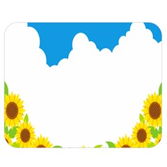 Cloud Blue Sky Sunflower Yellow Green White Double Sided Flano Blanket (medium)  by Mariart