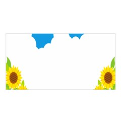 Cloud Blue Sky Sunflower Yellow Green White Satin Shawl by Mariart