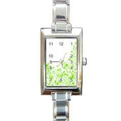 Butterfly Green Flower Floral Leaf Animals Rectangle Italian Charm Watch by Mariart