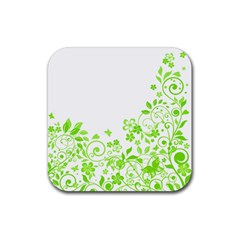 Butterfly Green Flower Floral Leaf Animals Rubber Square Coaster (4 Pack)  by Mariart
