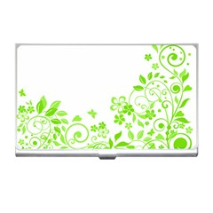Butterfly Green Flower Floral Leaf Animals Business Card Holders by Mariart