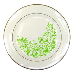Butterfly Green Flower Floral Leaf Animals Porcelain Plates by Mariart