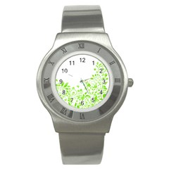 Butterfly Green Flower Floral Leaf Animals Stainless Steel Watch by Mariart