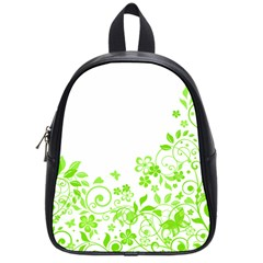 Butterfly Green Flower Floral Leaf Animals School Bags (small)  by Mariart