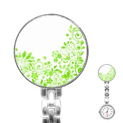 Butterfly Green Flower Floral Leaf Animals Stainless Steel Nurses Watch by Mariart