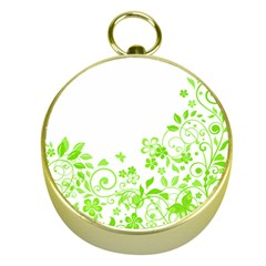 Butterfly Green Flower Floral Leaf Animals Gold Compasses by Mariart