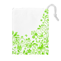 Butterfly Green Flower Floral Leaf Animals Drawstring Pouches (extra Large) by Mariart