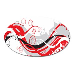 Flower Floral Star Red Wave Oval Magnet by Mariart