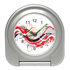 Flower Floral Star Red Wave Travel Alarm Clocks by Mariart