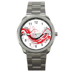 Flower Floral Star Red Wave Sport Metal Watch by Mariart
