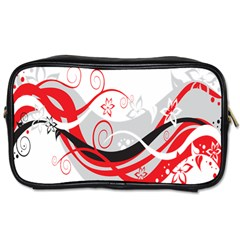 Flower Floral Star Red Wave Toiletries Bags by Mariart