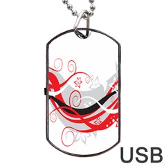 Flower Floral Star Red Wave Dog Tag Usb Flash (two Sides) by Mariart