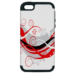 Flower Floral Star Red Wave Apple Iphone 5 Hardshell Case (pc+silicone) by Mariart