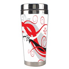 Flower Floral Star Red Wave Stainless Steel Travel Tumblers by Mariart