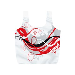 Flower Floral Star Red Wave Full Print Recycle Bags (s)  by Mariart