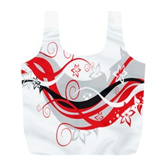 Flower Floral Star Red Wave Full Print Recycle Bags (l)  by Mariart