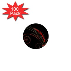 Flower Leaf Red Black 1  Mini Magnets (100 Pack)  by Mariart