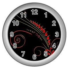 Flower Leaf Red Black Wall Clocks (silver)  by Mariart