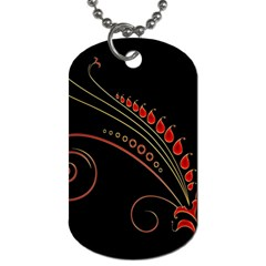 Flower Leaf Red Black Dog Tag (one Side) by Mariart