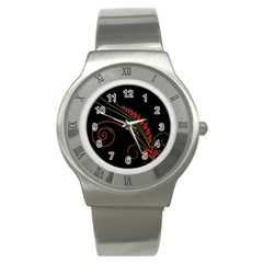 Flower Leaf Red Black Stainless Steel Watch by Mariart