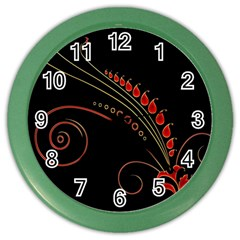 Flower Leaf Red Black Color Wall Clocks by Mariart