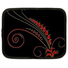 Flower Leaf Red Black Netbook Case (large) by Mariart