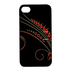 Flower Leaf Red Black Apple Iphone 4/4s Hardshell Case With Stand by Mariart