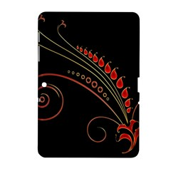 Flower Leaf Red Black Samsung Galaxy Tab 2 (10 1 ) P5100 Hardshell Case  by Mariart