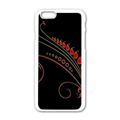 Flower Leaf Red Black Apple Iphone 6/6s White Enamel Case by Mariart