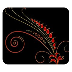 Flower Leaf Red Black Double Sided Flano Blanket (small)  by Mariart