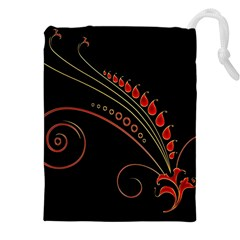 Flower Leaf Red Black Drawstring Pouches (xxl) by Mariart
