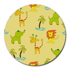 Cute Animals Elephant Giraffe Lion Round Mousepads by Mariart