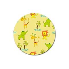 Cute Animals Elephant Giraffe Lion Magnet 3  (round) by Mariart