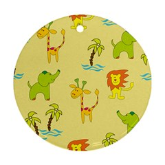 Cute Animals Elephant Giraffe Lion Round Ornament (two Sides) by Mariart