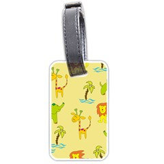 Cute Animals Elephant Giraffe Lion Luggage Tags (one Side)  by Mariart