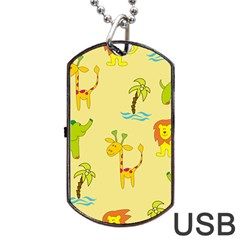 Cute Animals Elephant Giraffe Lion Dog Tag Usb Flash (one Side) by Mariart