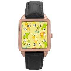 Cute Animals Elephant Giraffe Lion Rose Gold Leather Watch  by Mariart