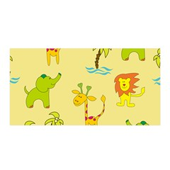 Cute Animals Elephant Giraffe Lion Satin Wrap by Mariart