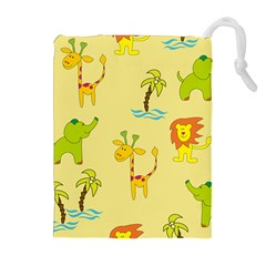 Cute Animals Elephant Giraffe Lion Drawstring Pouches (extra Large) by Mariart