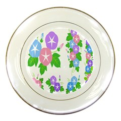 Flower Floral Star Purple Pink Blue Leaf Porcelain Plates by Mariart
