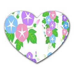 Flower Floral Star Purple Pink Blue Leaf Heart Mousepads by Mariart