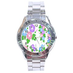Flower Floral Star Purple Pink Blue Leaf Stainless Steel Analogue Watch by Mariart