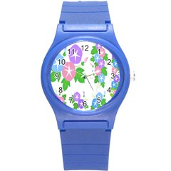 Flower Floral Star Purple Pink Blue Leaf Round Plastic Sport Watch (s) by Mariart
