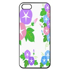 Flower Floral Star Purple Pink Blue Leaf Apple Iphone 5 Seamless Case (black) by Mariart